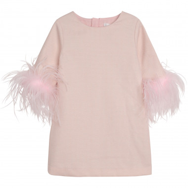 Robe manches courtes à plumes CHARABIA pour FILLE