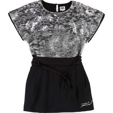 Robe brodée sequins magiques KARL LAGERFELD KIDS pour FILLE