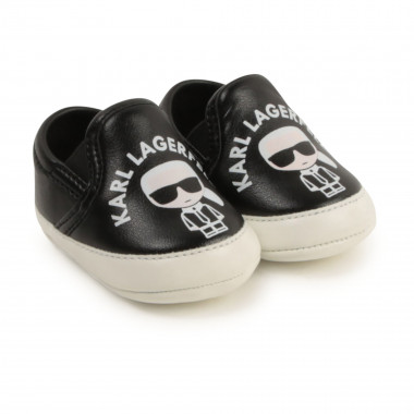 Chaussons slip-on aspect cuir KARL LAGERFELD KIDS pour GARCON